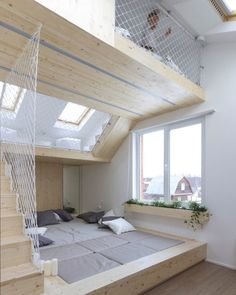 The idea behind the design of this bedroom by RueTemple is that instead of waking their parents up on the weekends the kids would be lured away to the upstairs playroom instead. via designmilk- kid, interior Posted to Souda's Tumblr From the...