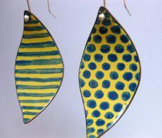 Stripes and polka dots-enamel on copper handmade earrings. ArtByWinona on etsy.