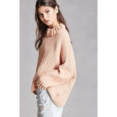 Forever21 Oversized Drape Sweater ($45) ❤ liked on Polyvore featuring tops, sweaters, peach, pink top, long sweaters, high neck top, oversized sweaters and pink sweater
