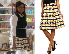 Mindy's skirt from the season finale of The Mindy Project! She looked cute in this yellow and black bow print. And Danny and Mindy looked cute shopping together too. Just saying. //// Kate Spade Jolie Skirt
