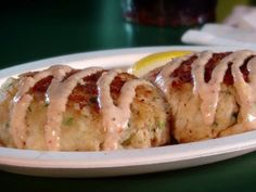 Cod Cakes Recipe : Food Network - this was the first thing I saw on Guy's Diners, drive-ins, and Dives :) mmmmmmm Dove Recipes, Fish Recipes, Seafood Recipes, Recipies, Cake Recipe Food Network, Food Network Recipes, Cooking Recipes, Chef Recipes, Copycat Recipes
