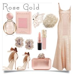 """""""Rose GOLD"""" by haramnoor222 on Polyvore featuring Hervé Léger, Sophia Webster, Kim Rogers, Bulgari, MAC Cosmetics, Jimmy Choo and Smith & Cult"""