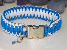 Aqua Blue & White King Cobra Style Paracord Dog Collar