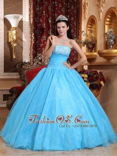 d2c1ce43b72 Buy blue unique strapless organza beaded dress decorated with appliques for  2016 from blue quinceanera dresses collection