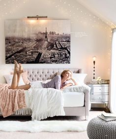 RH Teen bedroom. I love the soft gray wall (pale gray paint by Restoration Hardware?) and the tiny string lights.