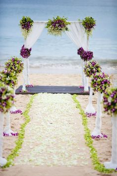 50 Beach Wedding Aisle Decoration Ideas | Lime & Purple Love...Rose petals available at Flyboy Naturals www.flyboynaturals.com  http://www.deerpearlflowers.com/50-beach-wedding-aisle-decor-ideas/