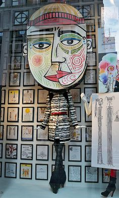 merchandising display windows window display story telling retail inspiration Bergdorf Goodman featuring illustrations by John Rombola from his book John Rombola: Eclectic Eccentric Fashion Window Display, Window Display Design, Shop Window Displays, Store Displays, Retail Displays, Visual Merchandising Displays, Visual Display, Bergdorf Goodman, Design Presentation