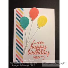 Three Balloon Happy Birthday Alternate Paper Pumpkin Card Using Stampin' Up! May 2015 Birthday Bundle Kit/ www.stampinwithlinda.com