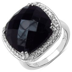 This exquisite ring is finely crafted of sterling silver and set with vibrant, genuine black onyx stones to create an elegant, refined accent to any ensemble. The piece is highly polished to a radiant shine.