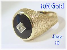 10K Gold - Diamond Onyx Brushed Gold Mens Estate Ring - Size 10 - Ladies Thumb Ring - Antique - Gift Box - Perfect Gift - FREE SHIPPING by FindMeTreasures on Etsy