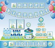 Choo Choo Train Birthday Party DIY Printable Customized Full party set - Invitation and Deco- match with Thomas the train - Green and blue. $26.00, via Etsy.