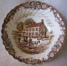 """<p>Nice brown toile polychrome late 17th century scene. So charming!!!</p> <div class=""""ProductDescriptionContainer"""">6 x 2'' decorative bowl. Pretty tan brown on cream hand colored with red, green, blue. Lovely scroll and leaf design on fluted edge. Made in England. Ironstone. Rare - hard to find design</div> <table border=""""0"""" align=""""left""""> <tbody> <tr> <td><img class=""""__mce_add_custom__"""" title=""""Brown Toile Pennsylvania Fieldstone Carriage Horse Dog Geese Bowl"""" src=""""http://www.deco..."""