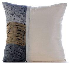 Textured Pintucks Ivory Art Silk 18X18 Pillow Cover - Grey & Earthy Green Waves #GreyPillow