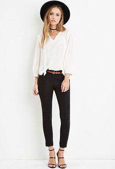 Belted Center-Seam Pants | Forever 21 - 2000164572, Black, Size L