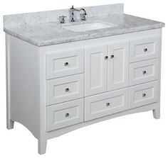 Abbey 48-in Bath Vanity (Carrera/White) - transitional - bathroom vanities and sink consoles - Kitchen Bath Collection