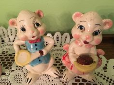 Vintage White Bear Boy and Girl Salt and Pepper Shakers Japan SALE by VintageLove50 on Etsy