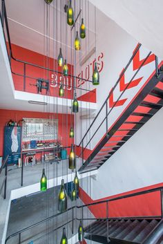 Too Many Agencies - Liefmans Brewery << Interior Design - Brewery Scenography - Decoration - Red Graphics - Beer Brewing -Timeline - History of Brewery - Bottle Light Installation - Stairs - Red Arrow Signs - Laboratory >>