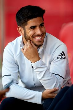 GIRONA, SPAIN - OCTOBER Marco Asensio of Real Madrid reacts prior to the La Liga match between Girona and Real Madrid at Municipal de Montilivi Stadium on October 2017 in Girona, Spain. (Photo by Manuel Queimadelos Alonso/Getty Images) Real Madrid Cake, Real Madrid Soccer, Real Madrid Players, Soccer Guys, Messi Soccer, Kids Soccer, Football Players, Soccer Fifa, Ronaldo