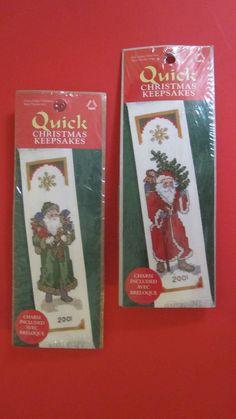 Quick Christmas Keepsakes Counted Cross Stitch Bookmark Kit Set of 2 Santas NIP #LeisureArts #Bookmark