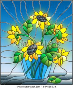 Illustration in stained glass style with bouquets of sunflowers in a blue vase on table on a blue background