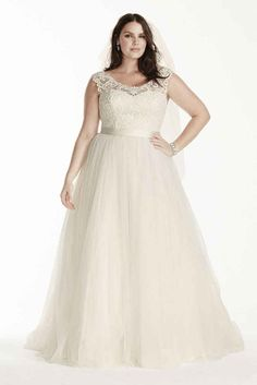 Wedding Dress with Lace Cap Sleeves - 25 Best Curvy Wedding Dresses for Plus-Size Brides - EverAfterGuide
