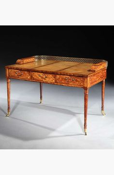 - A GEORGE III SATINWOOD WRITING TABLE BY JAMES BAILLIE, English, signed and dated by James Baillie, 18 July 1798