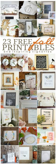 23 Fall Printables and inspiring Fall vignettes for your home.