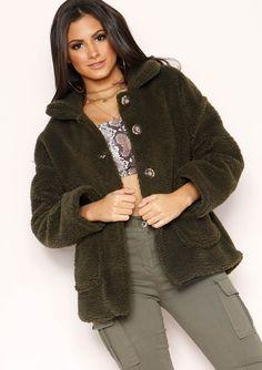 de54677c Missyempire - Krissy Khaki Button Up Teddy Coat Collars, Buttons, Pocket,  Teddy Coat