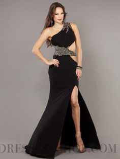 Shinning Sheath / Column Floor-length One Shoulder Split Front Evening Dresses