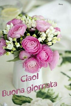 Buona giornata a chi mi legge Italian Memes, Italian Quotes, Cute Good Morning Quotes, Good Morning Good Night, Italian Greetings, Flowers For You, Good Afternoon, Happy Monday, Floral Wreath