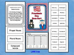 Classroom Freebies Too: Presidents Day: Noun Sort Literacy Center Activity