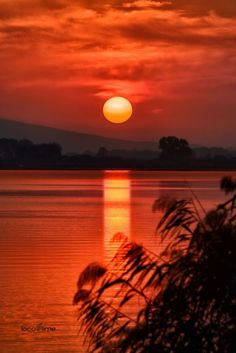 sunrise over the lake by Dimitris Pagiantzas on 500px..... trees sky sunrise lake red reflections sea sunset mountains water reflection nature travel sun light