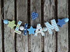 """LIAM"" WOODEN LETTERS LETTER DOOR NAME BABY SHOWER DECORATION  SHABBY CHIC  #NostalgieSpiel"
