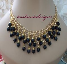 Onyx Black Necklace Triple Strand Necklace by TessLaurieDesigns