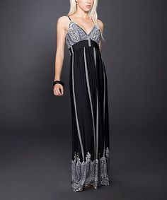 Take a look at this Black & White Mehndi Stripe Maxi by Adore on #zulily today!
