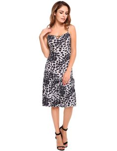 Sleeveless Strappy Keyhole Leopard Ruffled Dress