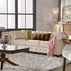 Shop for SIGNAL HILLS Knightsbridge Beige Linen Tufted Scroll Arm Chesterfield…