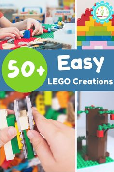 Easy LEGO creations for even the most novice LEGO builder! Easy LEGO project ideas that you can make with LEGO bricks you already own. Fine Motor Activities For Kids, Lego Activities, Easy Lego Creations, Lego Flower, Lego Valentines, Used Legos, Lego Challenge, Lego Builder, Lego For Kids