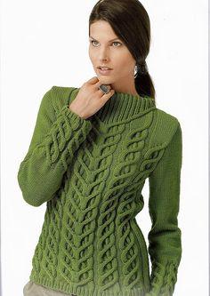 модели вязание зеленый джемпер