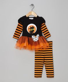 Take a look at this Orange Stripe Cat Tutu Tunic & Leggings - Infant & Girls by Gerson & Gerson on #zulily today!