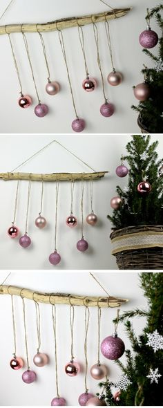 DIY DIY Christmas wall decoration made of driftwood + Christmas tree balls - DIY Christmas wall decoration made of driftwood with Christmas baubles + instructions: DIY, DIY, ha - Driftwood Christmas Tree, Christmas Greenery, Decoration Christmas, Christmas Tree Design, Christmas Baubles, Christmas Time, Christmas Crafts, Driftwood Christmas Decorations, Modern Christmas