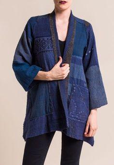 Mieko Mintz Indigo Frayed Patch A-Line Jacket Altered Couture, Kimono Jacket, Line Jackets, Blouse Online, Long Blouse, Types Of Sleeves, Boho Fashion, Fashion Art, Mantel