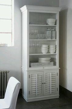 Kitchen cabinet  Made from a book case.  Could be my tea/coffee bar