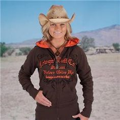 Reversible Hoodie!  Cowgirl Tuff- Never Give Up