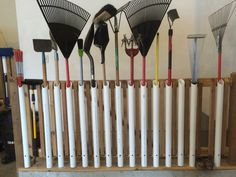 Great way to store garden tools using 2 inch PVC pipe.
