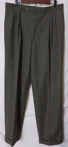 Robert Amerigo Brown Glen Plaid Wool Lined Cuffed Pants   Size 38W x 32L #RobertAmerigo #DressPleat
