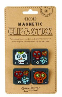 Amazon.com: Sugarbooger 4 Count Clip and Stick Magnetic Clips, Dia De Los Muertos: Home & Kitchen