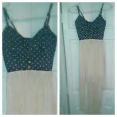 Sweetheart high-low dress Polka dot denim on top and flowing chiffon on the bottom.. pairs well with wedges Dresses High Low