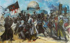 crusaders and muslims in battle at the temple mount ..jerusalem