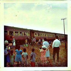 Rhodesia Railways - the train would stop at spots where peddlers came to sell their wares to the people on the train.